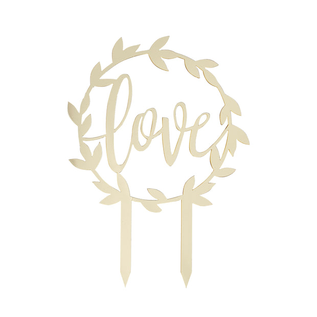 Love Cake Topper - Gold Acrylic - Gold Cake Topper - Wedding Cake Topper - Wreath Cake Topper - Floral Cake Topper