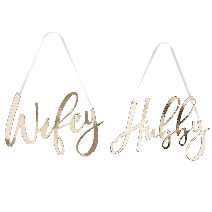Wifey & Hubby Gold Chair Signs  - Wedding Decor - Hanging Wedding Decorations - Wedding Signs - Mr and Mrs Sign - Chair Signs