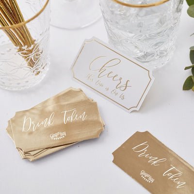 Gold Wedding Drink Tokens - Wedding Favours For Men - Drink Tokens - Party Drink Tokens - Unusual Wedding Favours - Party Favours
