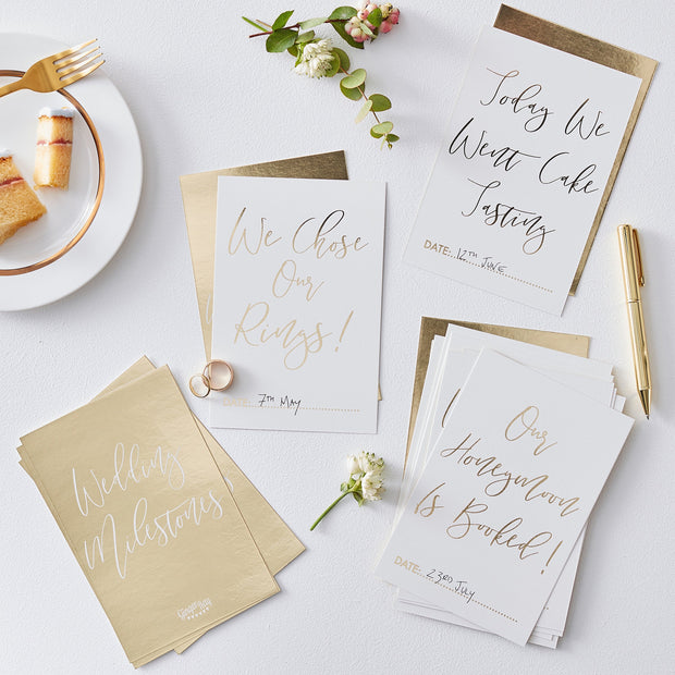 Gold Wedding Milestone Cards  - Milestone Cards - Wedding Planner - Wedding Planning - Engagement Gifts - Engagement Gift - Bride to Be