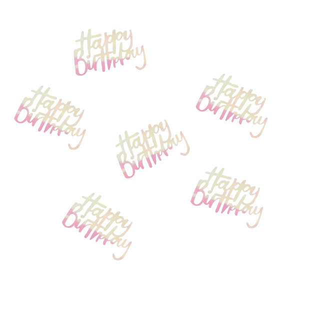 Happy Birthday Confetti - Iridescent Pastel Birthday Table Confetti - Pastel Party Decorations - Pastel Rainbow Party