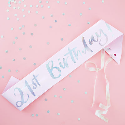 21st Birthday Sash  - 21st Birthday - Pastel Party Sash - Birthday Sash - Pastel Party Decorations