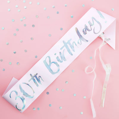 30th Birthday Sash  - 30th Birthday Party - Pastel Party Sash - Birthday Sash - Pastel Party Decorations