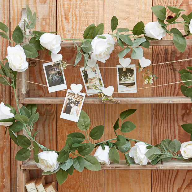 White Flower Garland - White Rose Garland - Wedding Decorations - Flower Garland for Weddings