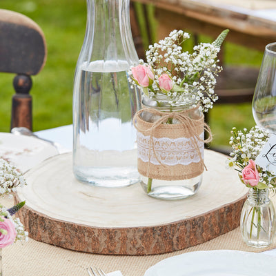Hessian Wrapped Glass Jars - Wedding Jars - Rustic Wedding Decorations - Country Wedding Decor - Wedding Centrepieces