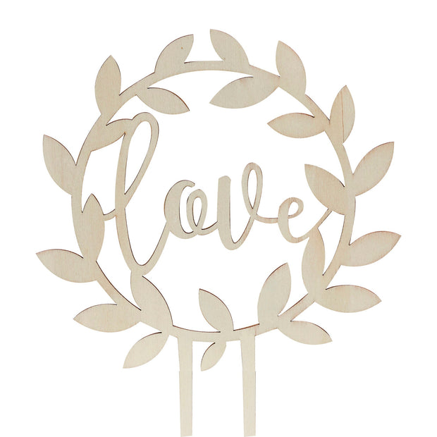 Love Cake Topper - Wooden Love Cake Topper - Wedding Cake Topper - Wreath Cake Topper