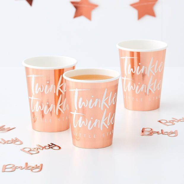 8 Rose Gold Cups - Twinkle Little Star Party - Baby Shower Decorations - Rose Gold 1st Birthday Party