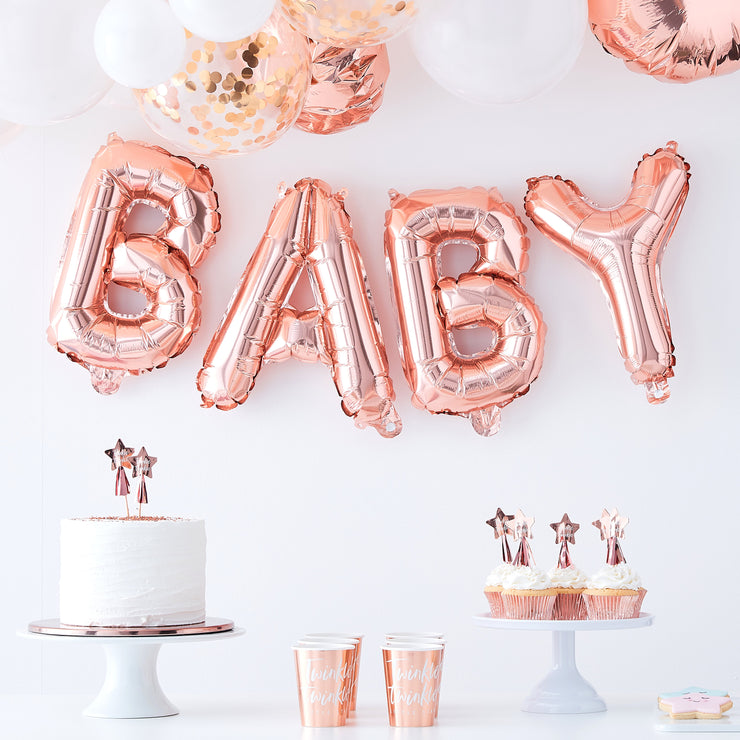 Baby Foil Letter Balloons - Rose Gold Baby Balloon - Baby Shower Balloons - Rose Gold Letters - Balloon Bunting