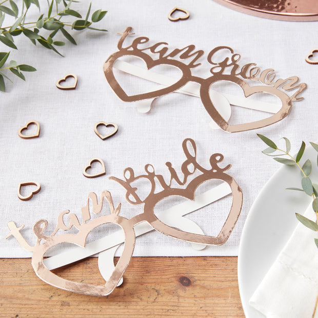 Team Bride Glasses - Team Groom Glasses - Rose Gold Wedding Props - Wedding Party Glasses -Wedding Party Props