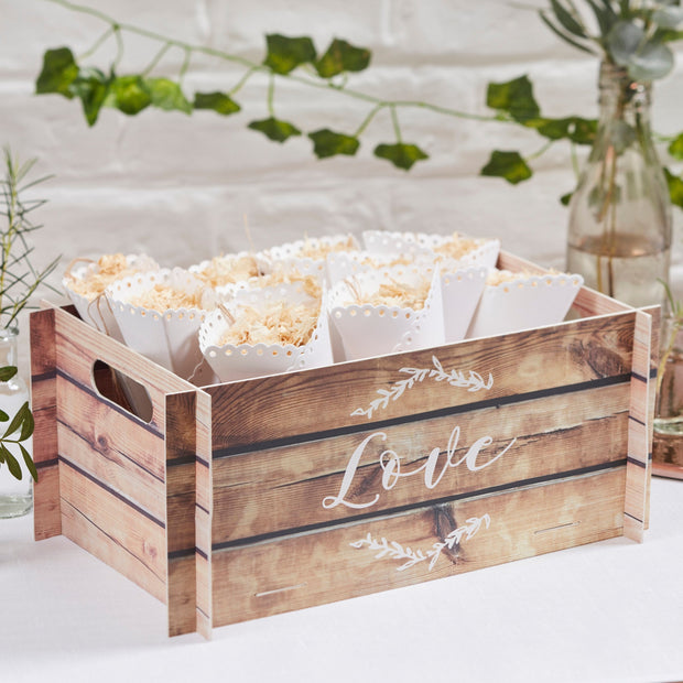 Wooden Effect Confetti Cone Box- Wedding Confetti Cone Display - Confetti Cone Box - Confetti Cones