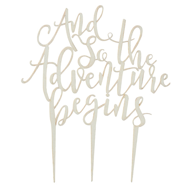 And So The Adventure Begins Wooden Cake Topper - Wooden Wedding Cake Topper - Wedding Cake Topper