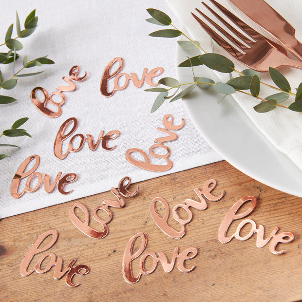 Rose Gold Love Table Confetti - Wedding Confetti - Table Confetti - Rose Gold Confetti - Rose Gold Confetti for Weddings