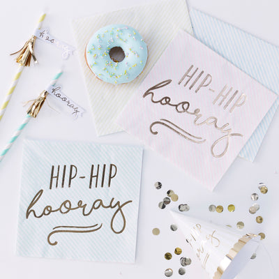 Gold Foiled Hip Hip Hooray Pastel Paper Napkins - Pastel Party Napkins - Pastel Party - Pastel Party Decorations - Birthday Napkins