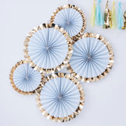 Gold Foiled Blue Fan Decorations  - Paper Fan Decorations - Pastel Party Decorations - Birthday Backdrops - Party Backdrop