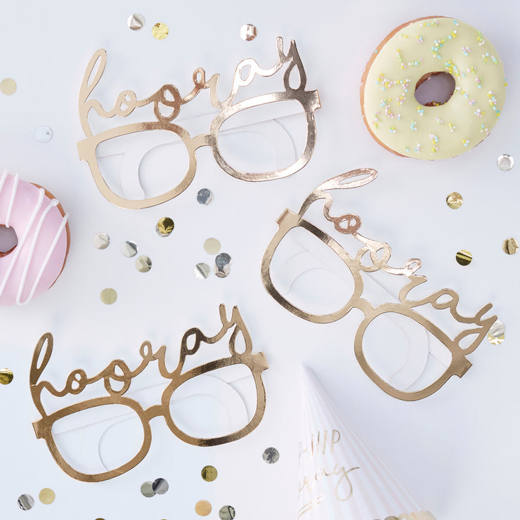 Hooray Party Prop Glasses - Fun Glasses - Gold Foil Party Glasses - Photo Booth Props