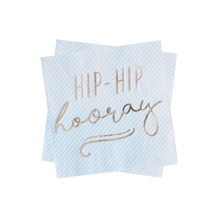 Gold Foiled Hip Hip Hooray Blue Paper Napkins - Blue Party Napkins - Pastel Party - Blue Party Decorations - Birthday Napkins