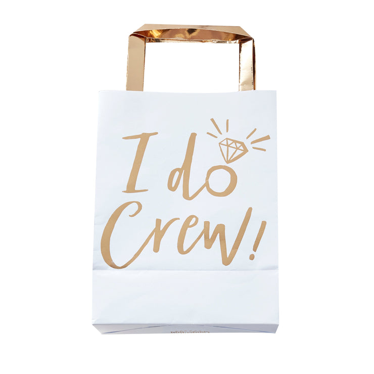Gold Foiled I Do Crew Party Bags - Hen Party Bags - Hen Night Bags - Bridal Shower Bags