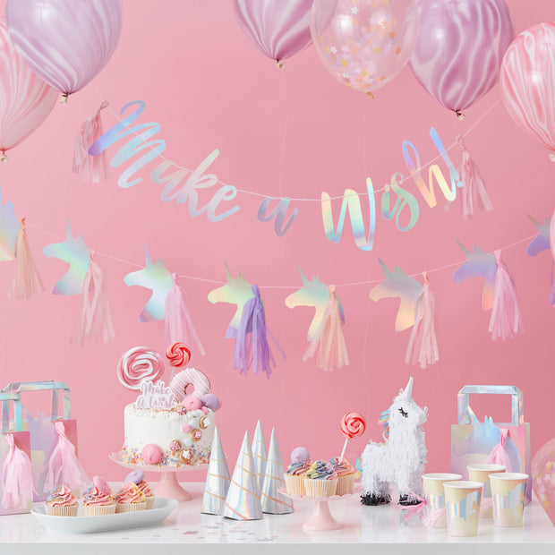 Iridescent Party Like A Unicorn Bunting - Unicorn Birthday Party - Unicorn Party - Unicorn Party Decorations