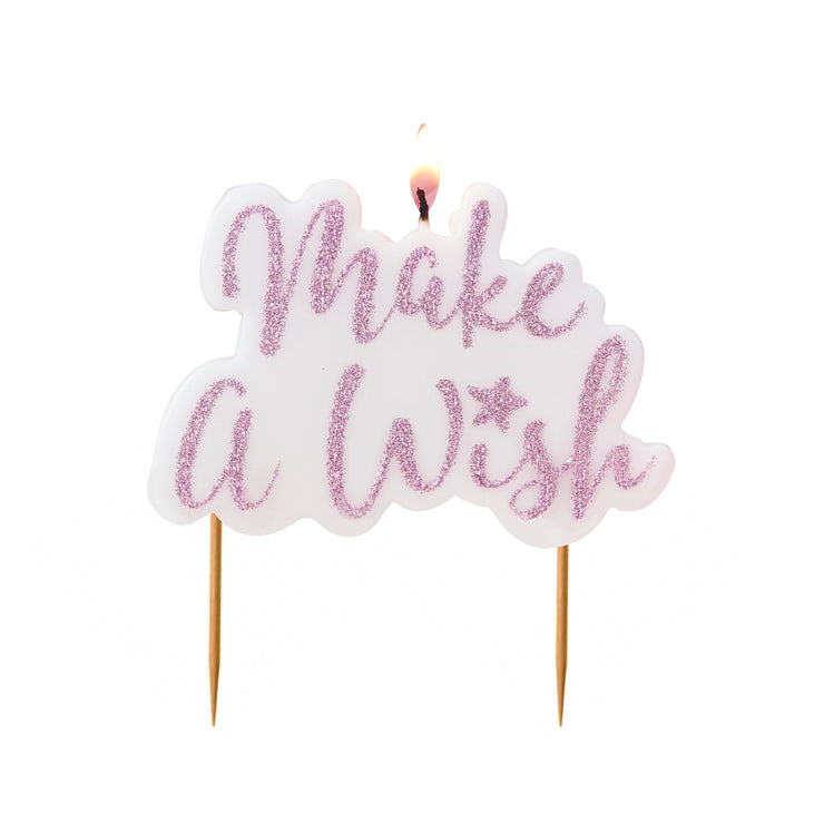 Pink Make A Wish Candle - Birthday Cake Candle - Wish Cake Candle - Birthday Candles - Party Candles