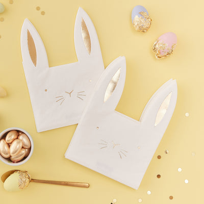 Easter Bunny Shaped Paper Napkins - Easter Party Decorations - Bunny Party Decorations - Rabbit Napkins