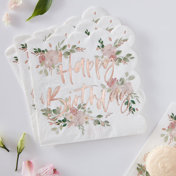 Rose Gold Foiled Floral Paper Napkins - Flower Napkins - Tea Party Napkins - Rose Gold Napkins - Summer BBQ
