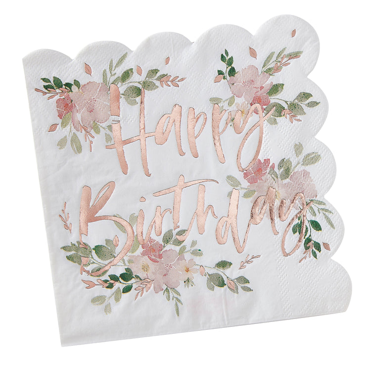 Happy Birthday Foiled Paper Napkins - Floral Napkins - Flower Party Napkins - Party Napkins