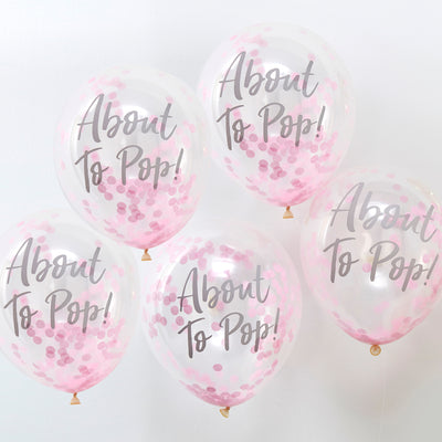 About To Pop Baby Shower Balloons - Baby Girl Confetti Balloons - Baby Shower Balloons - Pink Confetti Balloons