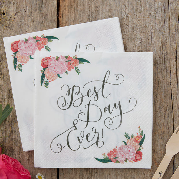 Best Day Ever Paper Napkins - Floral Wedding Napkins- Boho Wedding - Party Napkins