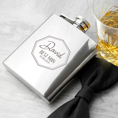 Personalised Best Man Contemporary Hip Flask - Best Man Gift - Best Man Hip Flask - Engraved Wedding Gifts