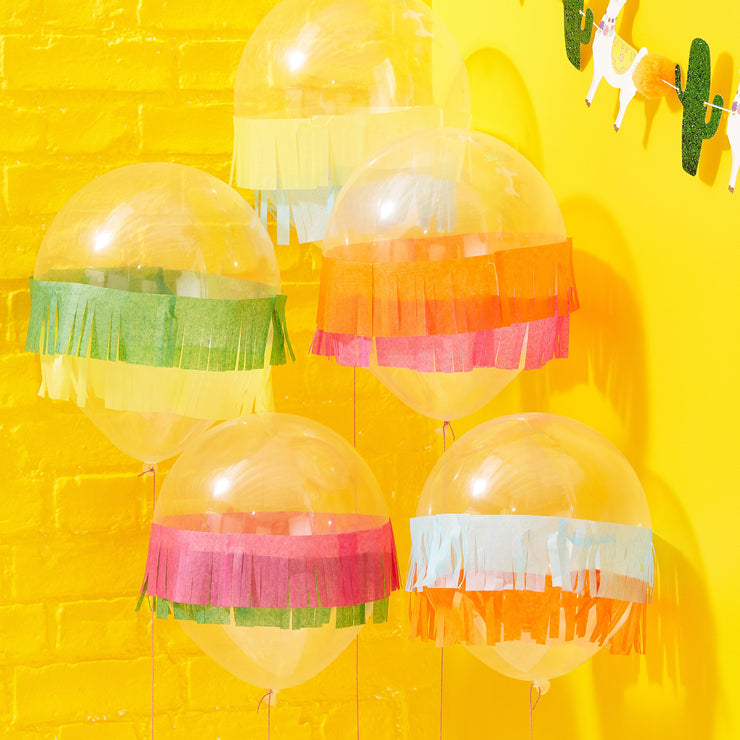 Tissue Fringe Mexican Party Balloons - Viva La Fiesta, Summer Party, Colourful Summer Party Balloons