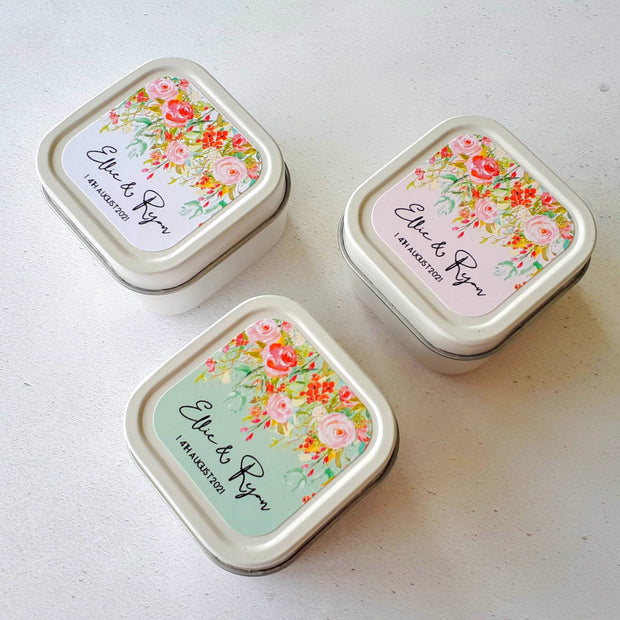 Floral Cascade Personalised Candle Favours, Wedding Favours, Personalised Wedding Favours