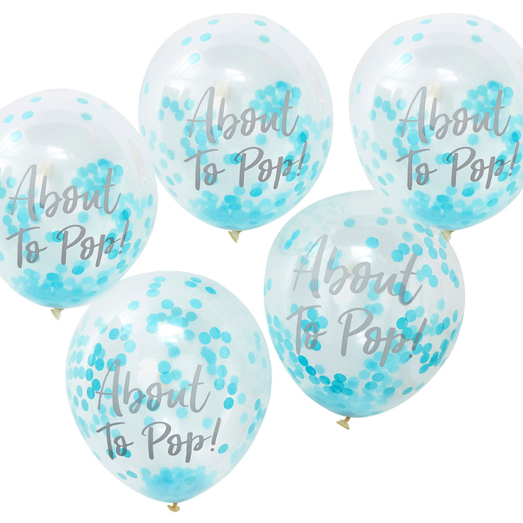 About To Pop Baby Shower Balloons - Baby Boy Confetti Balloons - Baby Shower Balloons