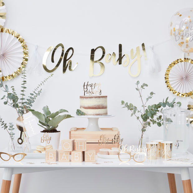 Happy Pushing Cake Topper - Oh Baby! - Gold Baby Shower Cake Topper - Fun Baby Shower Ideas