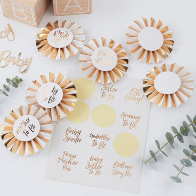 Gold Foiled Baby Shower Badge Kit -  Oh Baby! - Baby Shower Games