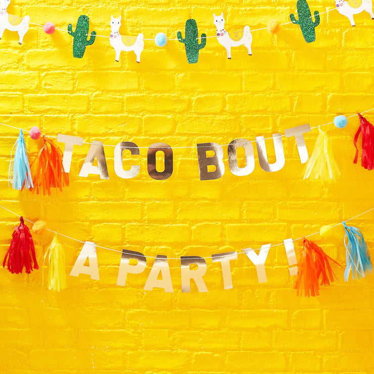 Gold Taco Party Pompom And Tassel Party Bunting - Viva La Fiesta, Summer Party, Colourful Summer Party Balloons