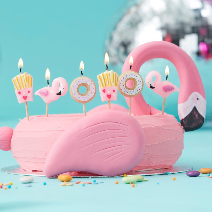Fries Donut And Flamingo Shaped Candles Kit  - Birthday Candles - Flamingo Party - Summer Party