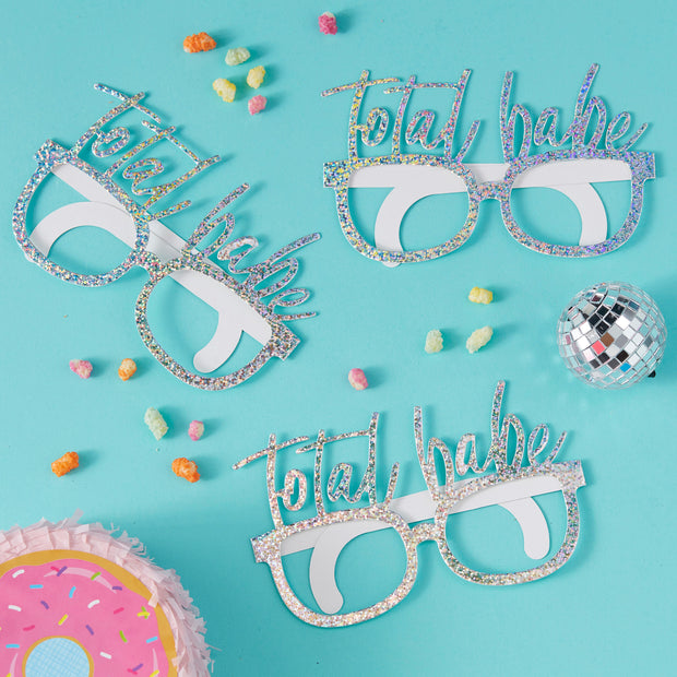 Pack of 8 Iridescent Total Babe Fun Glasses  - Birthday Photo Booth Props - Birthday Babe