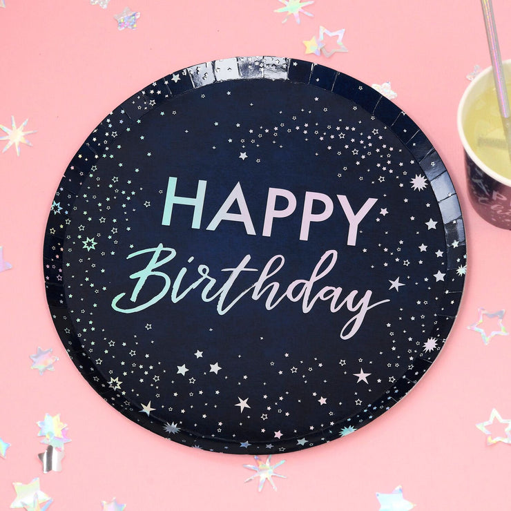 Iridescent Foiled Happy Birthday Paper Plates - Stargazer - Birthday Plates - Party Plates