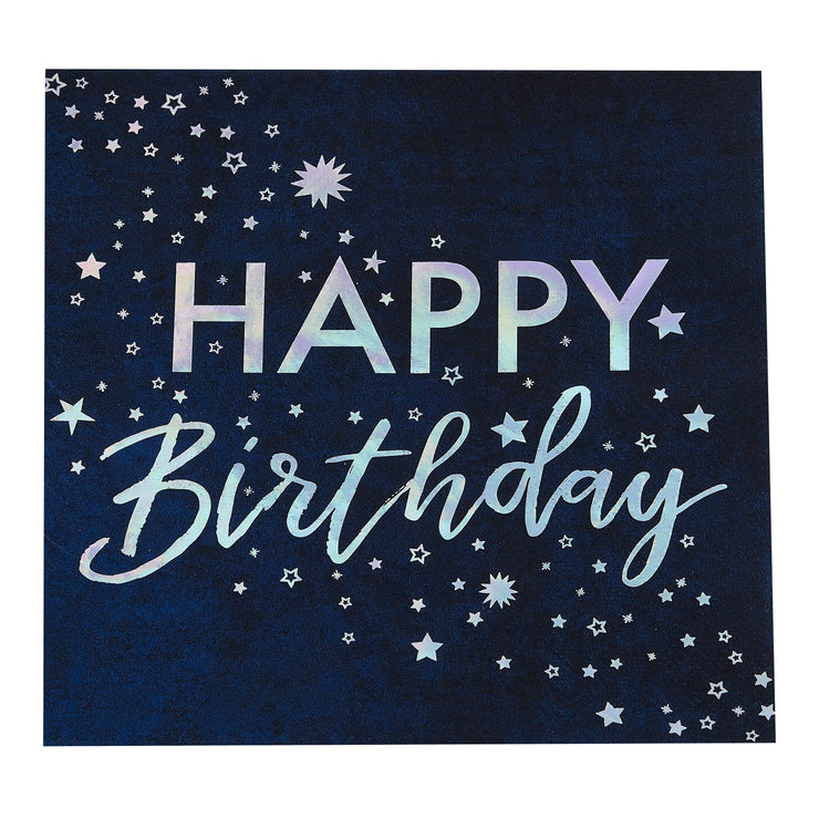 Iridescent Foiled Happy Birthday Paper Napkins - Stargazer - Birthday Napkins - Party Napkins