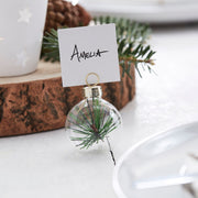 Rustic Foliage Christmas Bauble Place Card Holders - Let It Snow - Christmas Place Card Holders