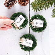 Wreath Name Place Cards / Holders - Rustic Christmas - Rustic Christmas - Christmas Place Card Holders