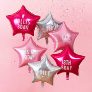 Personalisable Star Party Balloons With Stickers - Iridescent Foil Balloons - Pink Party Decorations - Star Balloons