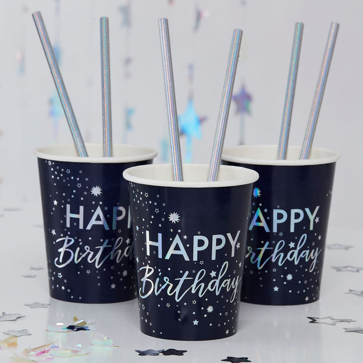 Iridescent Foiled Happy Birthday Paper Cups - Stargazer - Birthday Cups - Party Cups