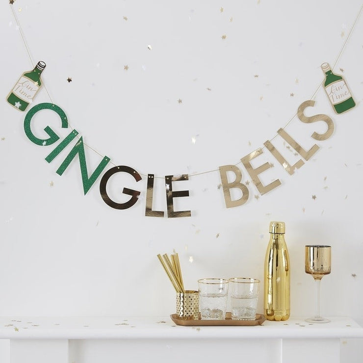 Glitter Gingle Bells Christmas Gin Party Bunting - New Years Party