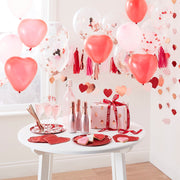 Red Plates With Rose Gold Foiled Hearts - Valentine Decorations