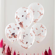 Rose Gold Foiled Confetti Balloons - Valentine's - Wedding Balloons