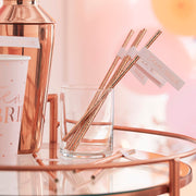 Rose Gold Team Bride Flag Hen Party Straws