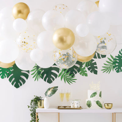 Gold Chrome  And White Balloon Arch Garland