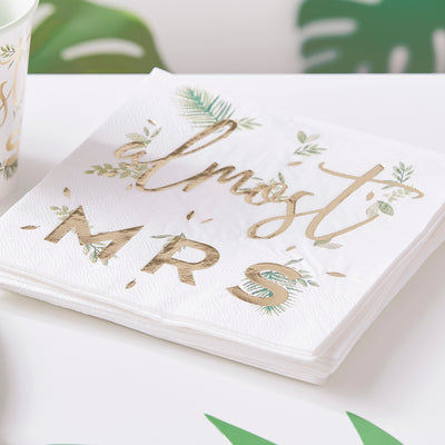 Gold Foiled Almost Mrs Hen Party Napkins - Botanical Wedding Decorations