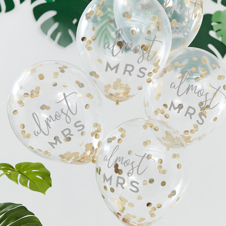 Goil Foiled Almost Mrs Hen Party Plates - Botanical Gold Bridal Shower